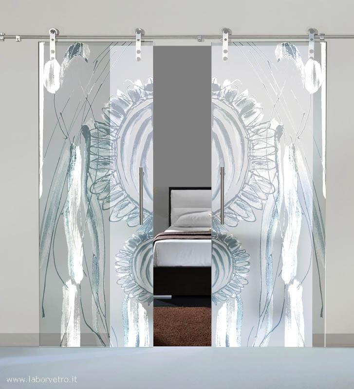Vetro vetro temperato vetro stratificato vetro decorato - Porte scorrevoli doppia anta ...